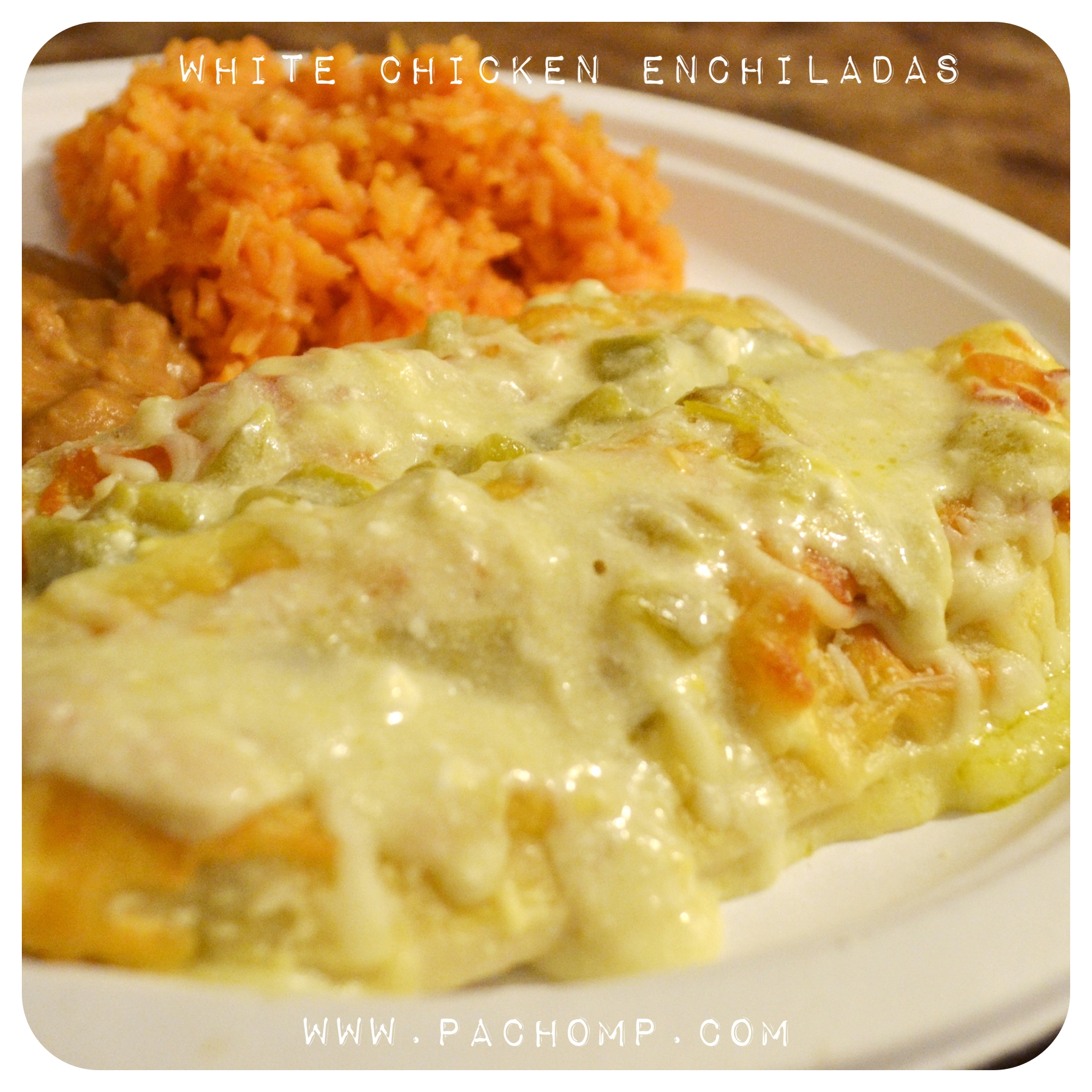 White Chicken Enchiladas Recipe — Dishmaps